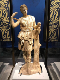 Artemis, goddess of the hunt, is one of the most complete marbles on display and an excellent example of Greek art on display at The Children's Museum of Indianapolis.