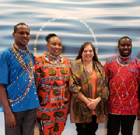 Roving Blue and IndiMark Launch a Charitable Program at The Global Water Center. Pictured left to right: Joseph Koyei, Jane Nampaso, Yana DeMyer and Daniel Iree