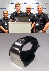 The ViCardio team (top) receiving the award, and the ViCardio, beat to beat, non-invasive blood pressure monitor (bottom).