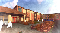 This is a rendering of The Rauner Family Veteran Apartments by A Safe Haven Foundation in Hobart, Indiana. The apartment complex is scheduled to open in spring of 2021.