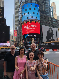 Diana Fu, Zhongping Qiu, Min Gao at Time Square Nasdaq Display of