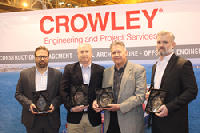 (L to R): Johan Sperling, Crowley Maritime; Robert Mullins, VT Halter Marine; Ray Martus, Crowley Maritime; Quentin Stewart, Wärtsilä North America.