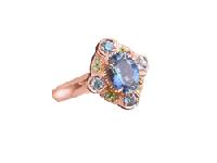 Josephine Ring by Cecile Raley Designs. Featuring aquamarine, zircon, and demantoid garnet, set in 14K rose gold