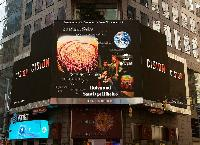 Advertising in New York city at giant screens from Times Square