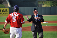 Medal of Honor recipient Woody Williams and Hall of Fame great Johnny Bench have a catch.