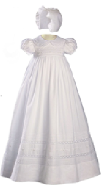 Girls White Cotton Christening Gown
