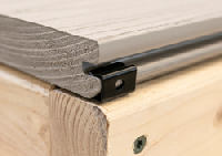 CAMO STARTER Clips are designed to eliminate face-fastening of the first and last board on any grooved decking installation on wood joists, for a completely fastener-free surface.