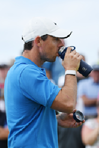 Rory McIlroy hydrates with pure water from his Bluewater water bottle (Credit:The R&A)