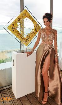 Hollywood star Farrah Abraham close to Cesare Catania sculpture during his artistic exhibition